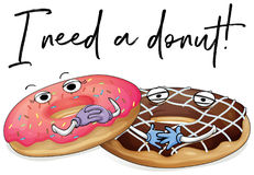 Two pieces of donuts with phrase I need a donut. Illustration Royalty Free Stock Photography