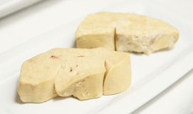 Two pieces of duck foie gras stock photo