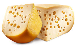 Two pieces of Emmental cheese head. Royalty Free Stock Images