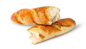 Two pieces of French baguette crosswise Royalty Free Stock Photo