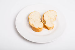 Two Pieces of French Bread Royalty Free Stock Images