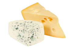 Two pieces of fresh cheese Royalty Free Stock Photos