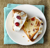 Two pieces of fruit cake Stock Image