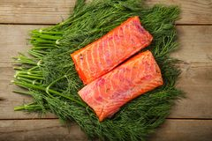 Gravad lax on the greenery Royalty Free Stock Images