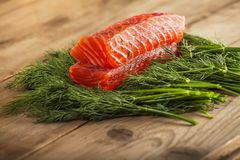 Two pieces of gravlax Stock Photography