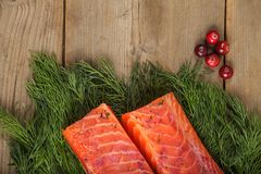 Gravlax with cranberry and greenery Royalty Free Stock Photography