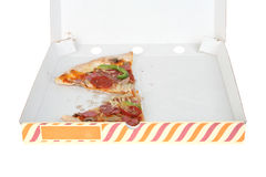 Two pieces of half-eaten pizza Stock Image