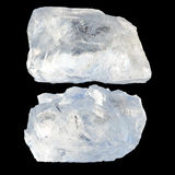 Two pieces of ice. Two large pieces of ice on a black background Royalty Free Stock Image