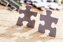 Two pieces of jigsaw puzzle Royalty Free Stock Photos
