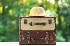 Two pieces of luggage on forest background stock photos