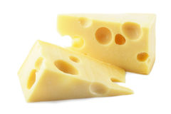 Two pieces of maasdam cheese. Isolated on white background Royalty Free Stock Photos