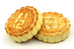 Two pieces of moon cake Royalty Free Stock Image