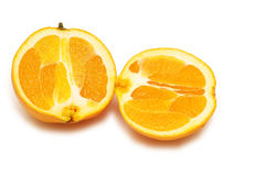 Two pieces of orange isolated Stock Image