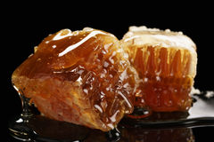 Two pieces of organic honeycomb with honey isolated on black background Royalty Free Stock Photos