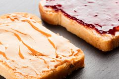 Peanut butter sandwich stock photography