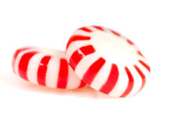 Two pieces of Peppermint Christmas candy Stock Photo