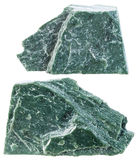 Two pieces of Phyllite mineral stone isolated Royalty Free Stock Images