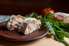 Two pieces of pita bread or lavash roll with cottage cheese or c Stock Image