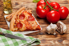Two pieces of pizza. Stock Photo
