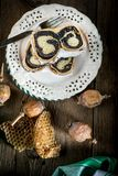 Two pieces of poppie-seed cake on a plate. Selective focus Stock Photo