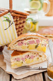 Two Pieces of Potato, Ham, Sour Cream and Cheese Pie Royalty Free Stock Photography