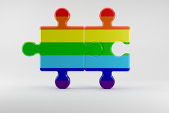Two Pieces of Puzzle as Symbol for the Rights of Gay People Stock Photos