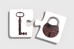 Two pieces of puzzle with padlock and key Royalty Free Stock Photos