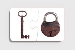 Two pieces of puzzle with padlock and key Royalty Free Stock Image