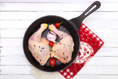 Two pieces of raw chicken in a frying pan Royalty Free Stock Images
