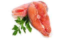 Two pieces of raw salmon Royalty Free Stock Photo