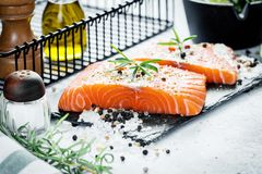 Two pieces of raw salmon fillet with fresh herb rosemary, spices and olive oil on black slate plate Stock Images
