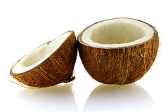 Two pieces of ripe coconut Stock Photo