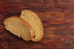 Two pieces of rye bread Stock Image