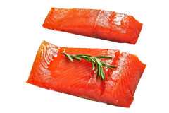 Two pieces of salmon fish fillet isolated on white Stock Photography