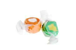 Two pieces of salt water taffy Royalty Free Stock Image