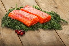 Salty salmon on the old table Stock Images