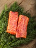 Salty salmon pieces Stock Images