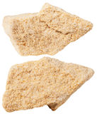 Two pieces of sandstone (arenite) mineral stone Stock Image