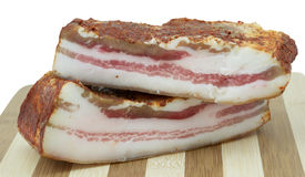 Two pieces of smoked bacon Stock Images