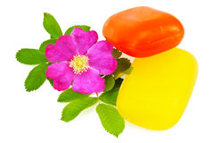 Two pieces of soap with flower wild rose Royalty Free Stock Photos