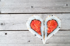 Two pieces of sushi forming the heart shape Stock Photography