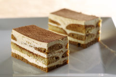 Two pieces of tiramisu Royalty Free Stock Photos