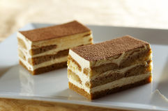 Two pieces of tiramisu Stock Photography