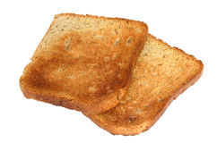Two pieces of toast #2. Background is pure white Stock Photography