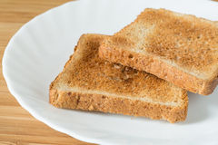 Two pieces of toast bread Royalty Free Stock Photos