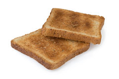Two pieces of toast isolated with clipping path. Two pieces of toast isolated on white background (clipping path Royalty Free Stock Image