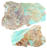 Two pieces of Turquoise gemstones isolated Royalty Free Stock Photography