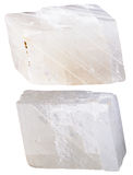 Two pieces of white calcite mineral stone Royalty Free Stock Images