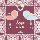 Two pigeons card with love hearts Stock Image
