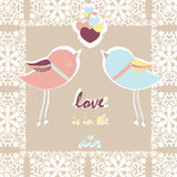 Two pigeons card with love hearts Royalty Free Stock Photography